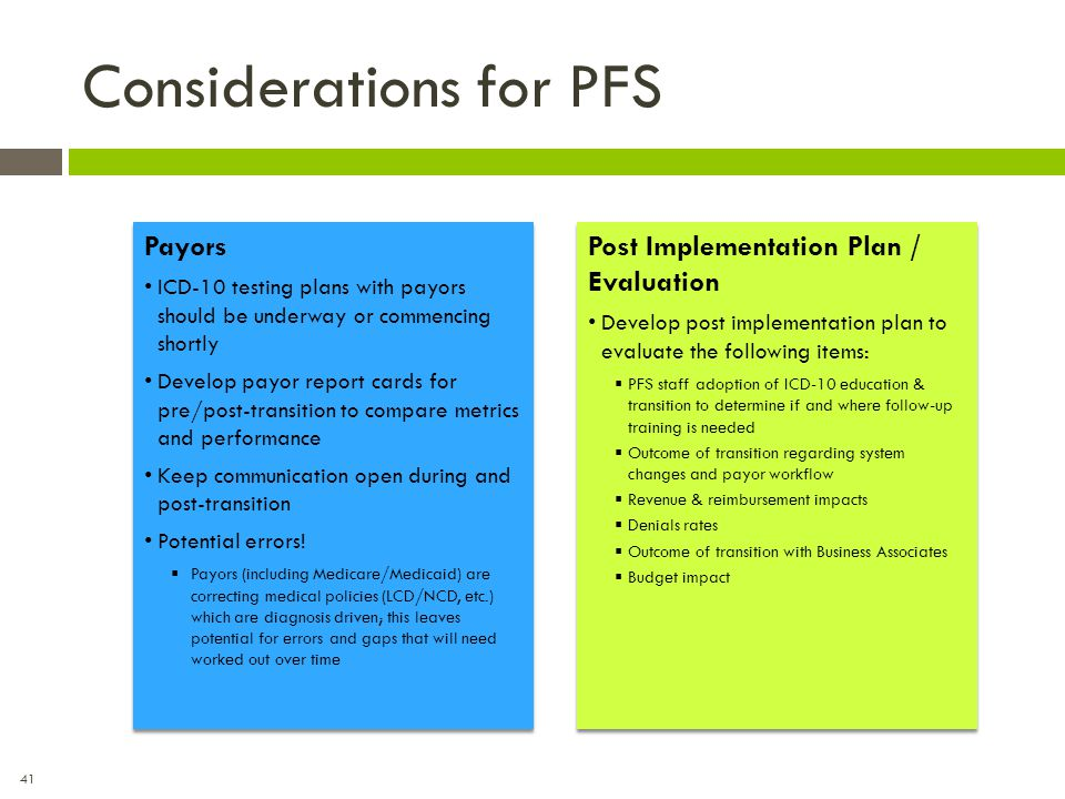 Considerations for PFS