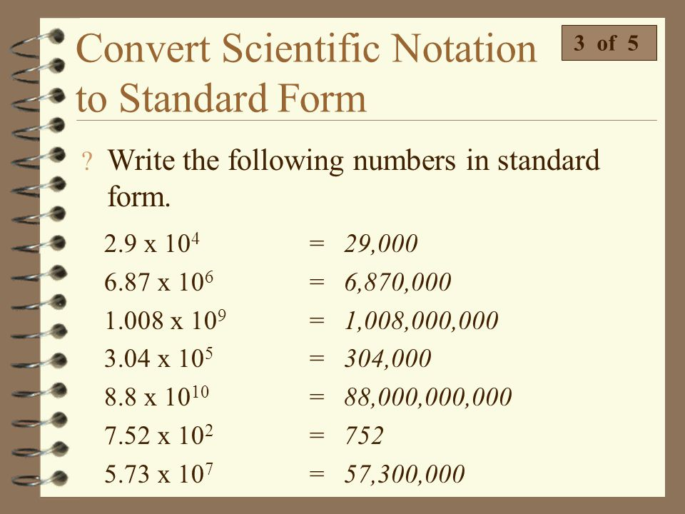 Convert Scientific Notation to Standard Form