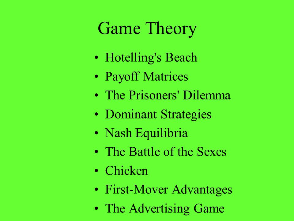 Game Theory Hotelling s Beach Payoff Matrices The Prisoners Dilemma