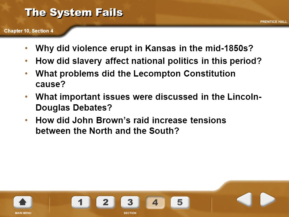 The System Fails Why did violence erupt in Kansas in the mid-1850s