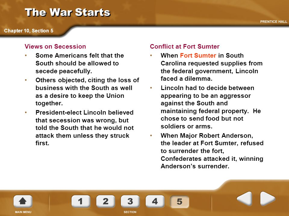 The War Starts Views on Secession