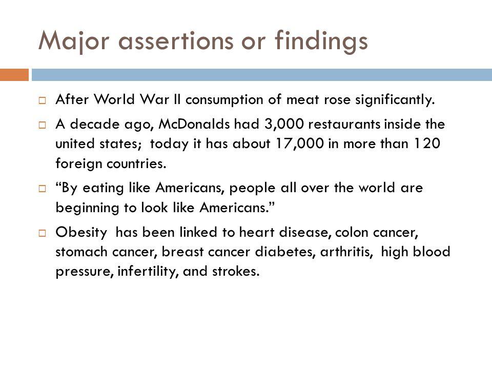 Major assertions or findings