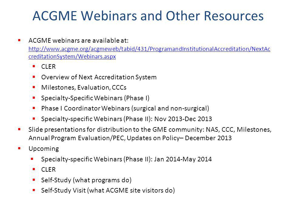 ACGME Webinars and Other Resources