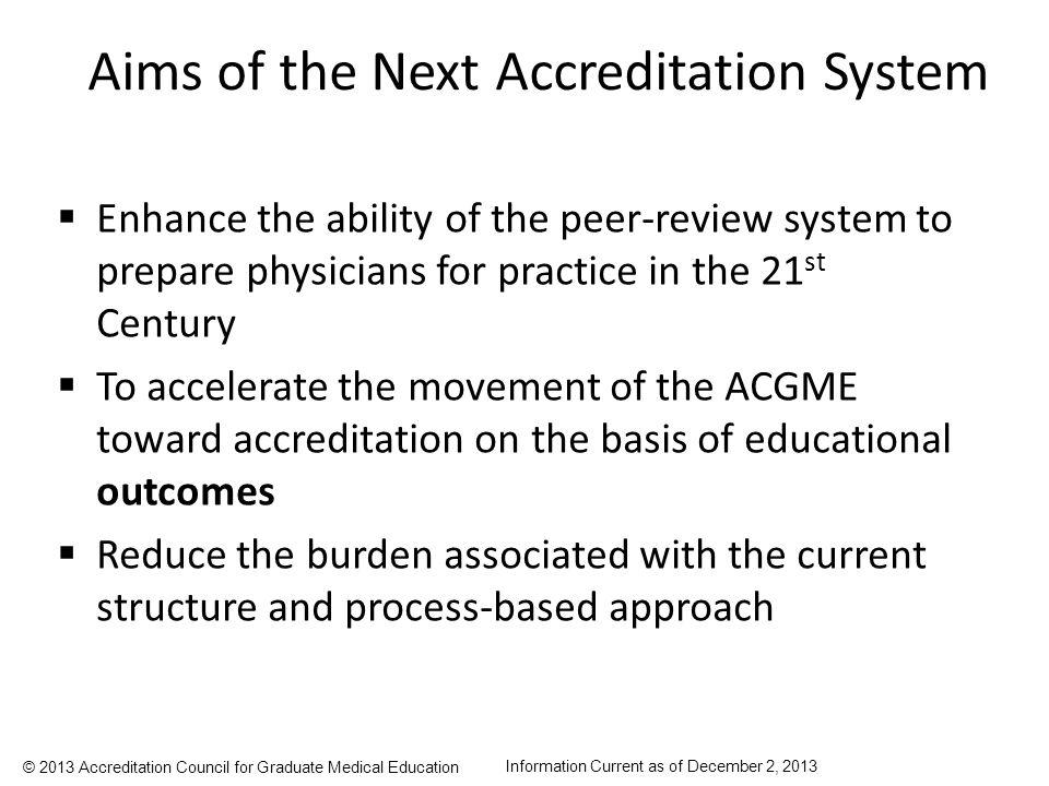 Aims of the Next Accreditation System
