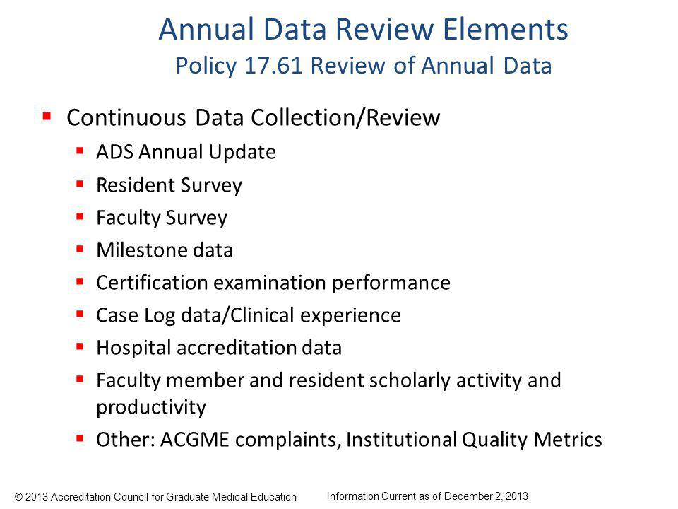 Annual Data Review Elements Policy 17.61 Review of Annual Data