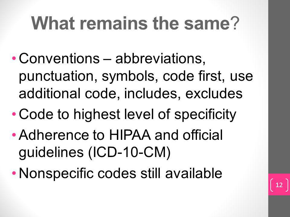 What remains the same Conventions – abbreviations, punctuation, symbols, code first, use additional code, includes, excludes.
