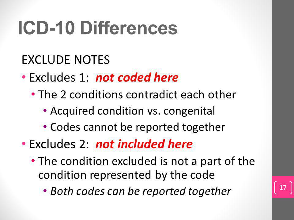 ICD-10 Differences EXCLUDE NOTES Excludes 1: not coded here