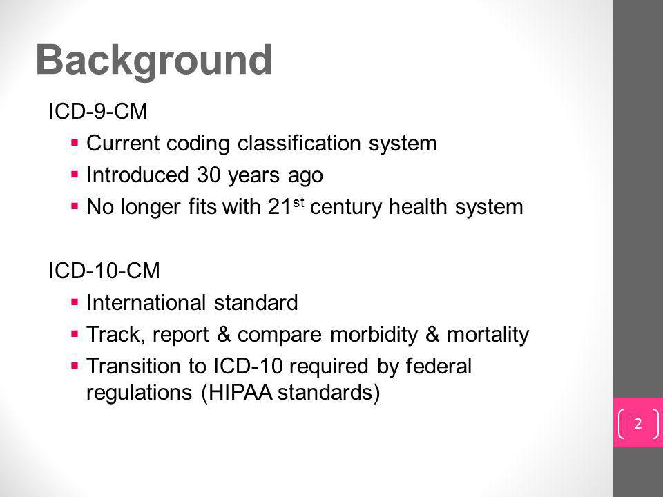 Background ICD-9-CM Current coding classification system