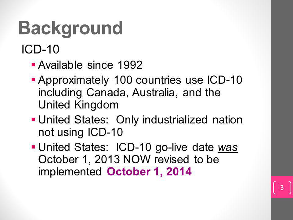 Background ICD-10 Available since 1992