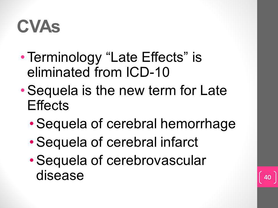 CVAs Terminology Late Effects is eliminated from ICD-10