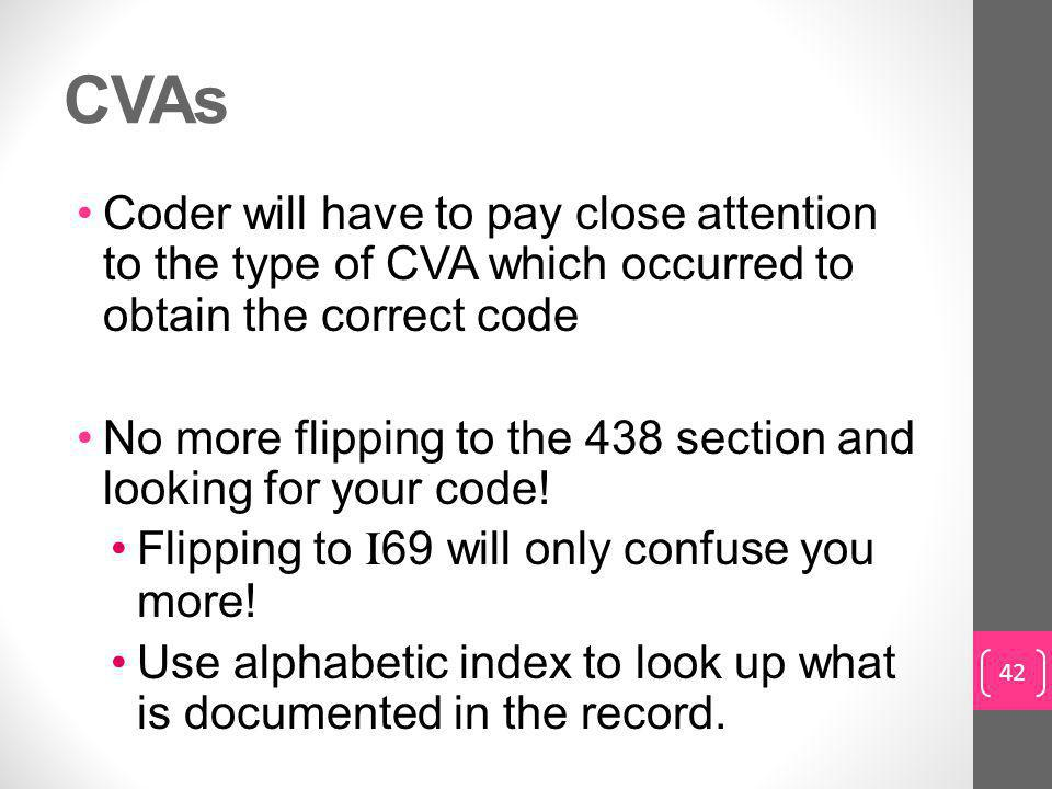 CVAs Coder will have to pay close attention to the type of CVA which occurred to obtain the correct code.