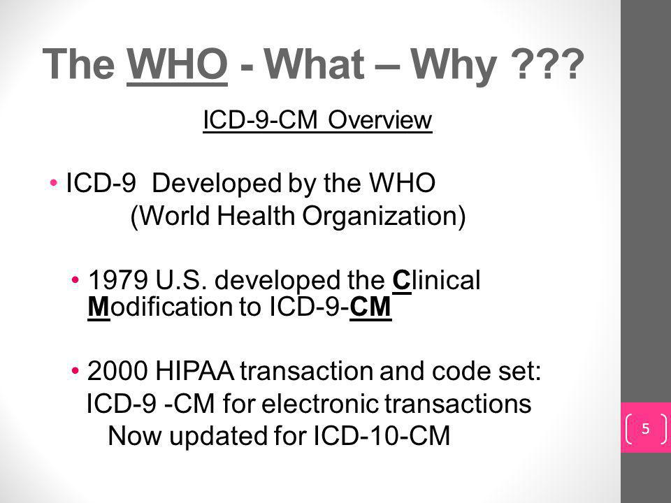 The WHO - What – Why ICD-9 Developed by the WHO