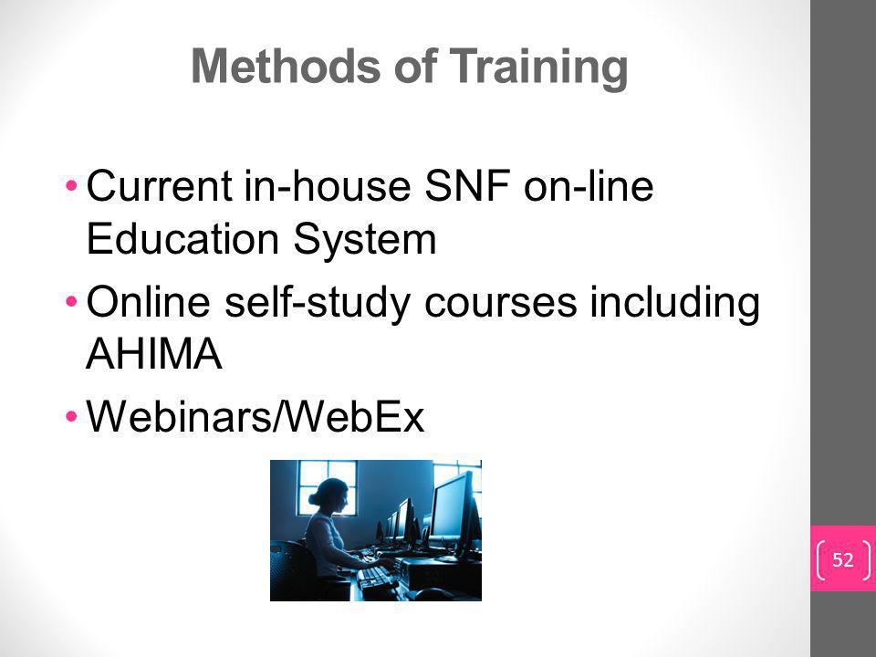 Methods of Training Current in-house SNF on-line Education System