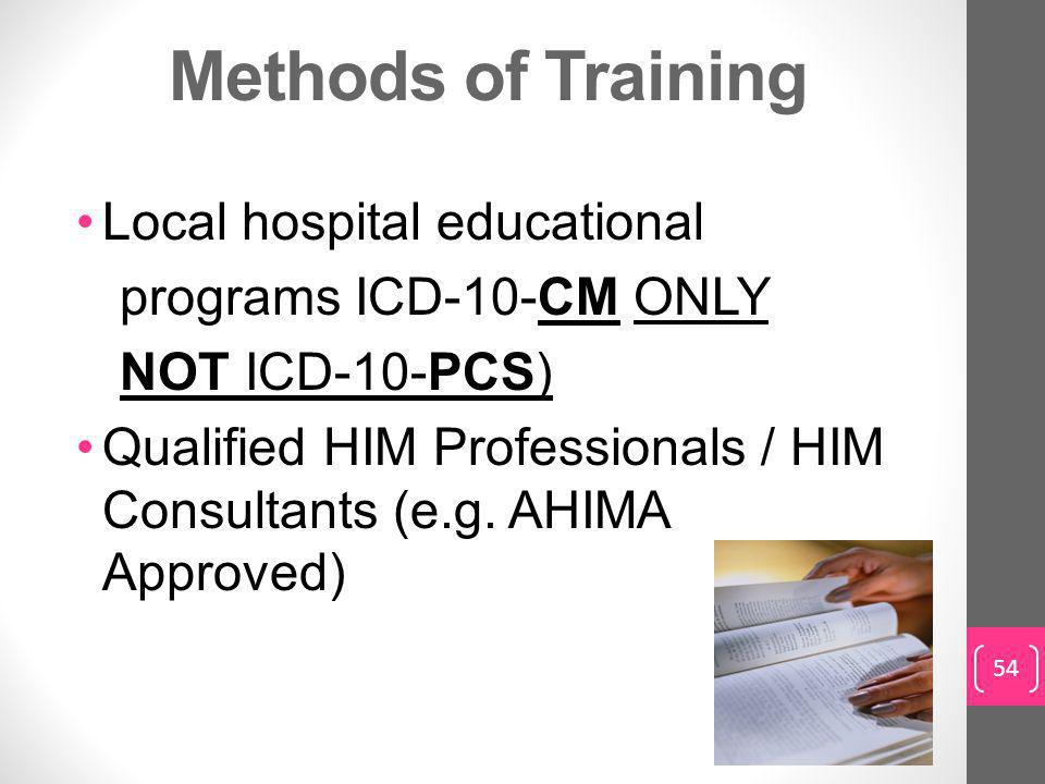 Methods of Training Local hospital educational programs ICD-10-CM ONLY