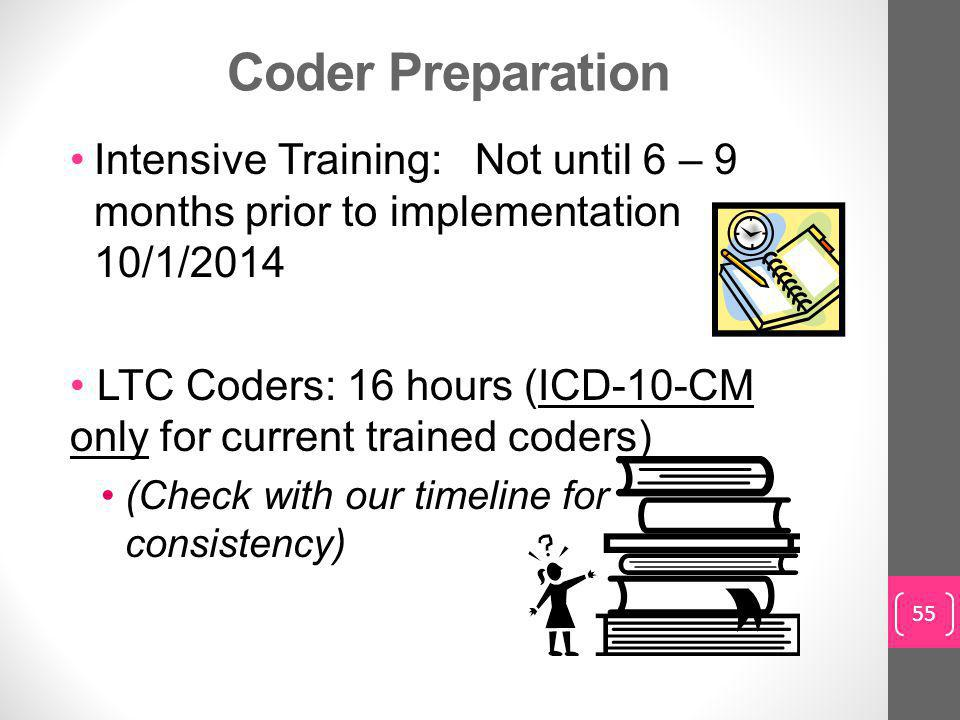Coder Preparation Intensive Training: Not until 6 – 9 months prior to implementation 10/1/2014.