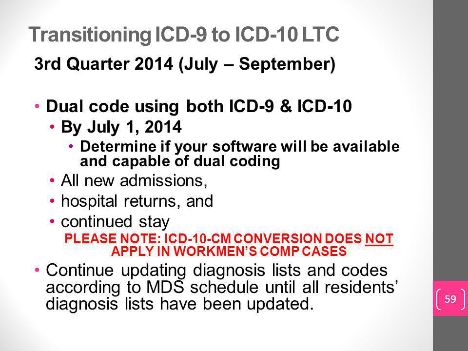 Transitioning ICD-9 to ICD-10 LTC
