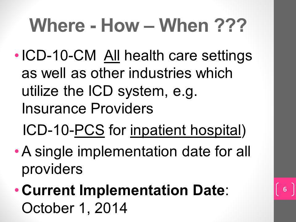 Where - How – When ICD-10-CM All health care settings as well as other industries which utilize the ICD system, e.g. Insurance Providers.