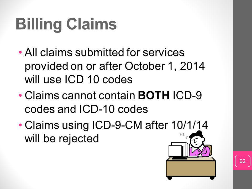 Billing Claims All claims submitted for services provided on or after October 1, 2014 will use ICD 10 codes.