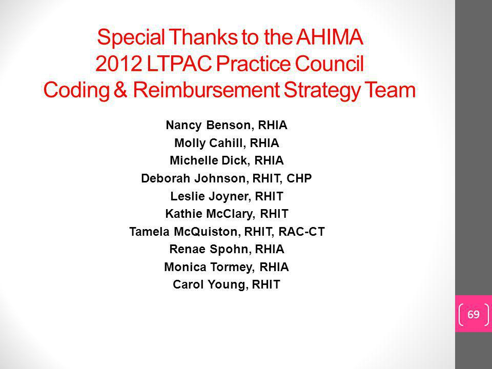 Special Thanks to the AHIMA 2012 LTPAC Practice Council Coding & Reimbursement Strategy Team