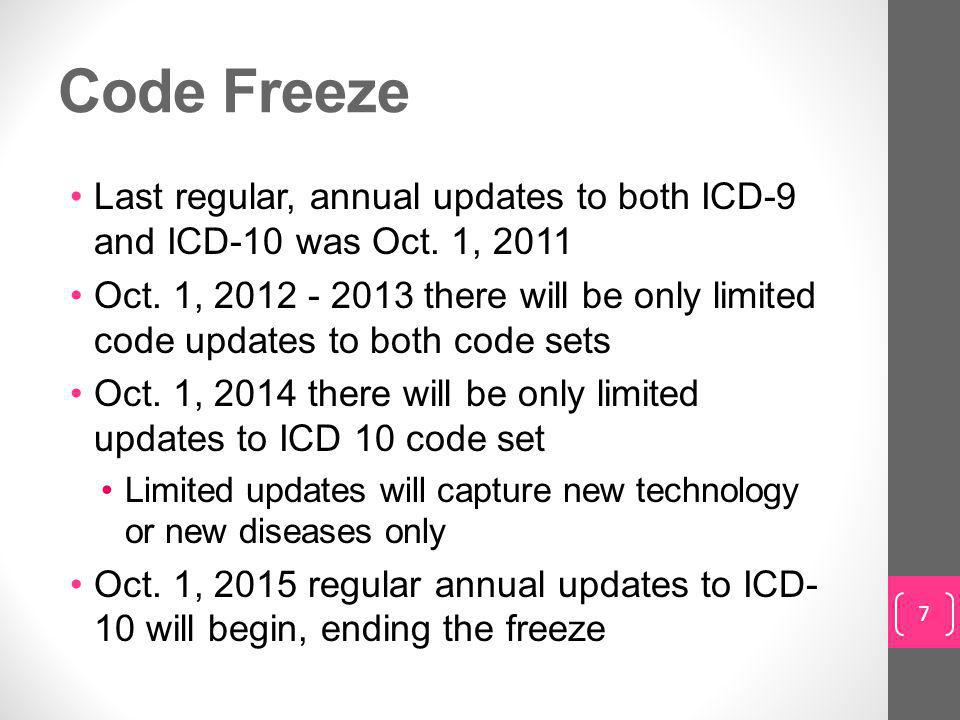 Code Freeze Last regular, annual updates to both ICD-9 and ICD-10 was Oct. 1, 2011.