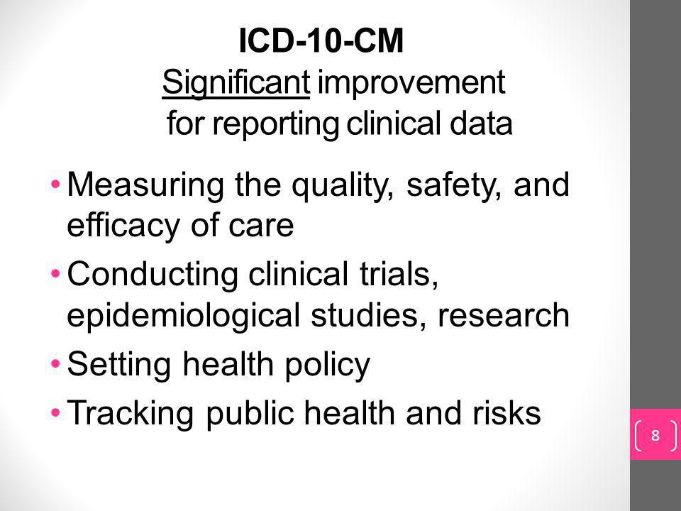 ICD-10-CM Significant improvement for reporting clinical data
