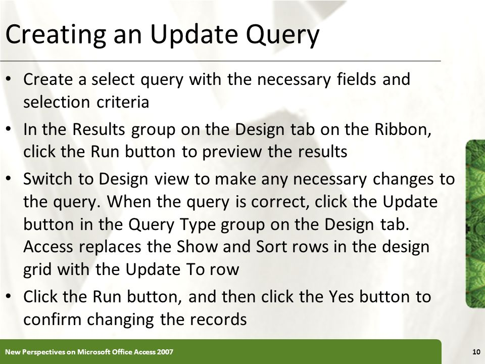 Creating an Update Query