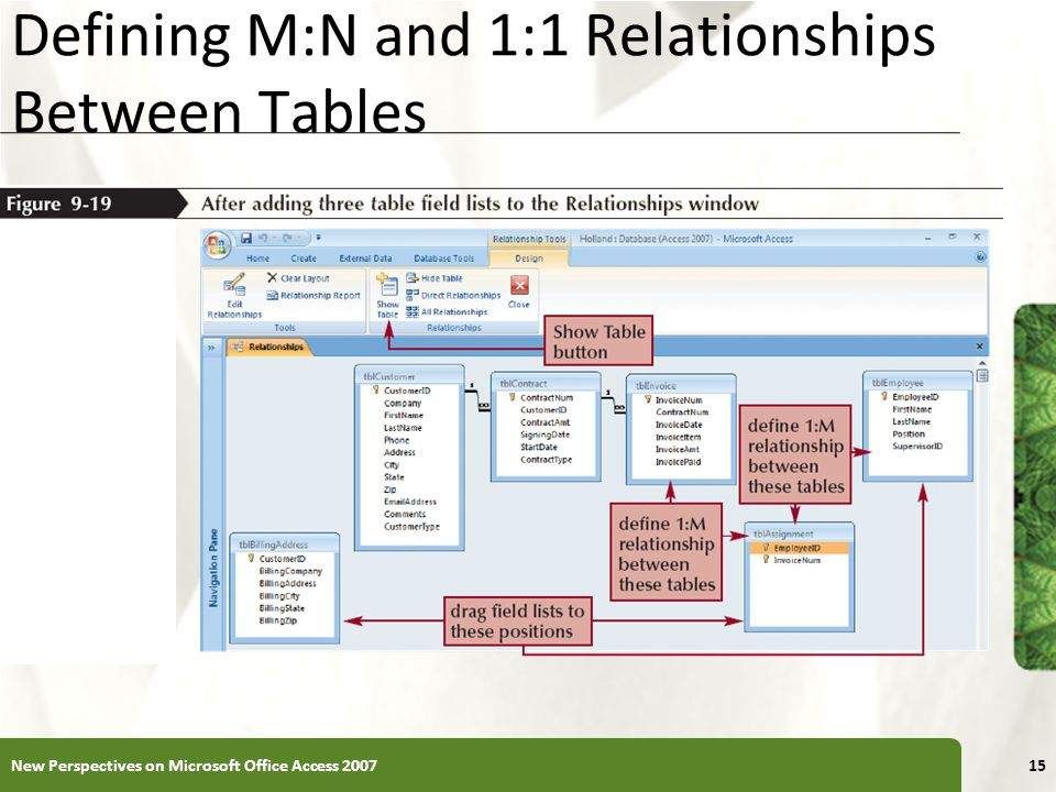 Defining M:N and 1:1 Relationships Between Tables