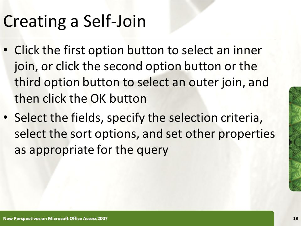 Creating a Self-Join