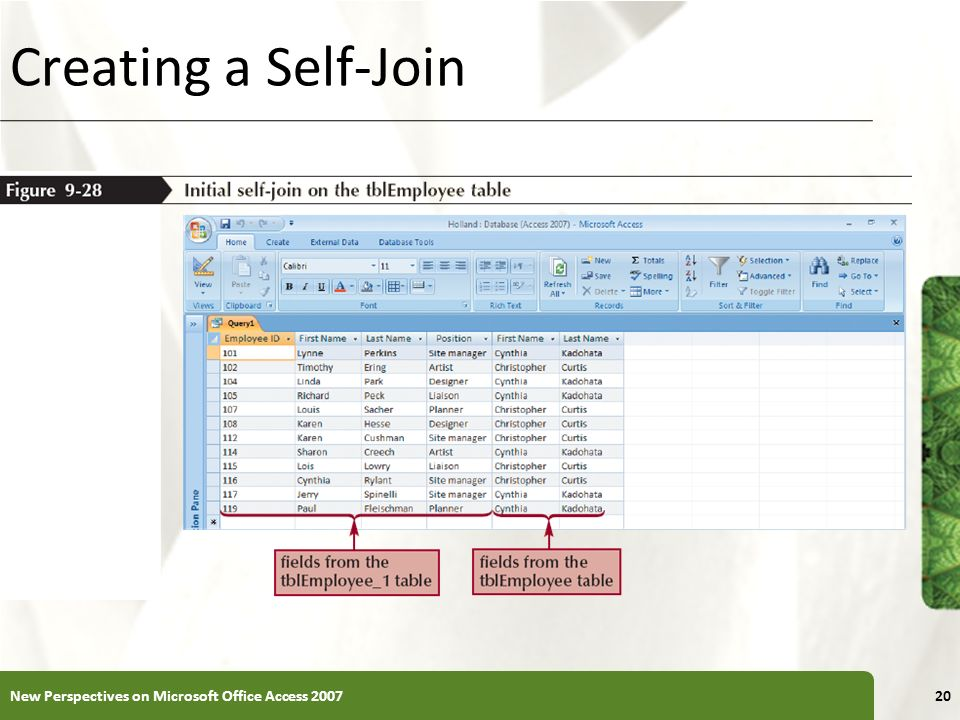 Creating a Self-Join New Perspectives on Microsoft Office Access 2007