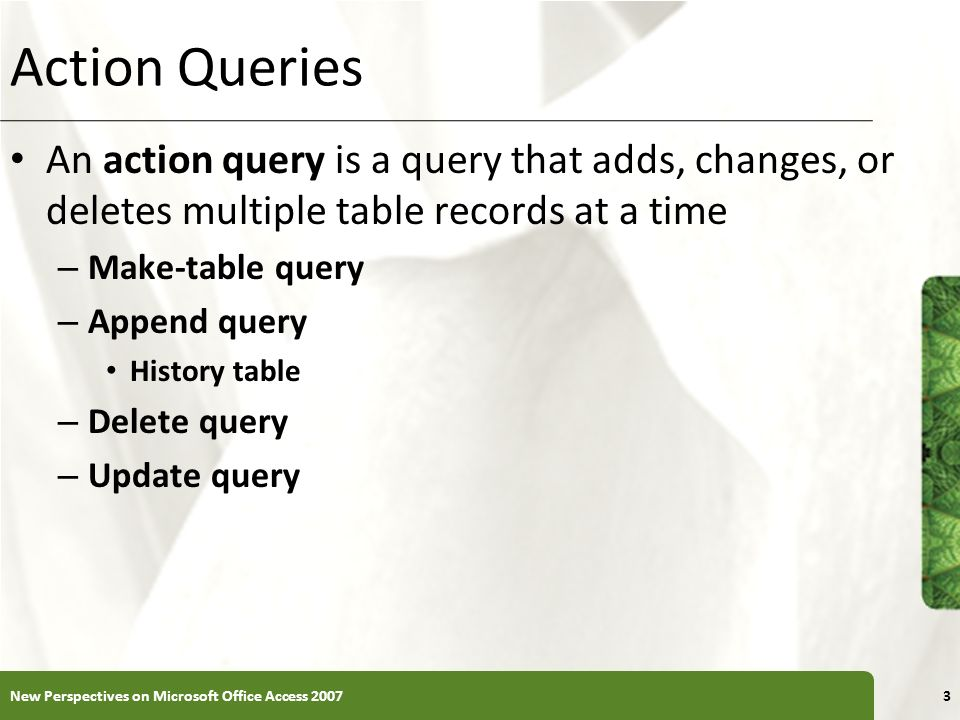 Action Queries An action query is a query that adds, changes, or deletes multiple table records at a time.