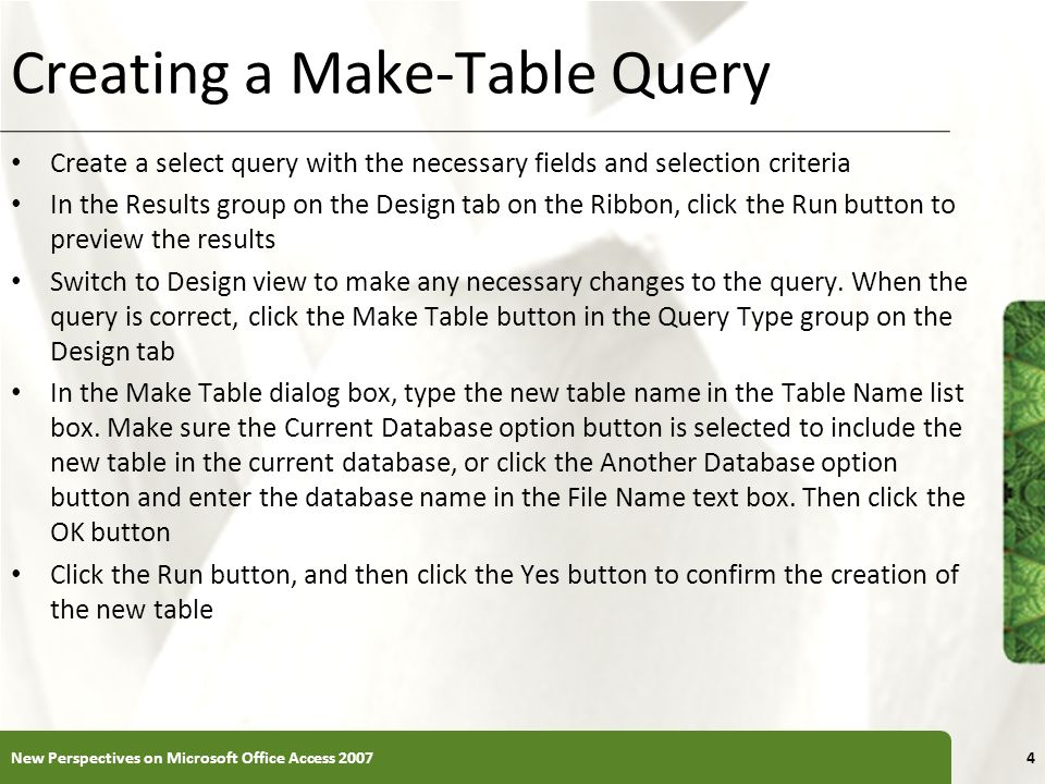 Creating a Make-Table Query