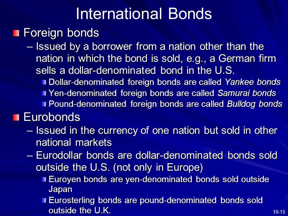 International Bonds Foreign bonds Eurobonds