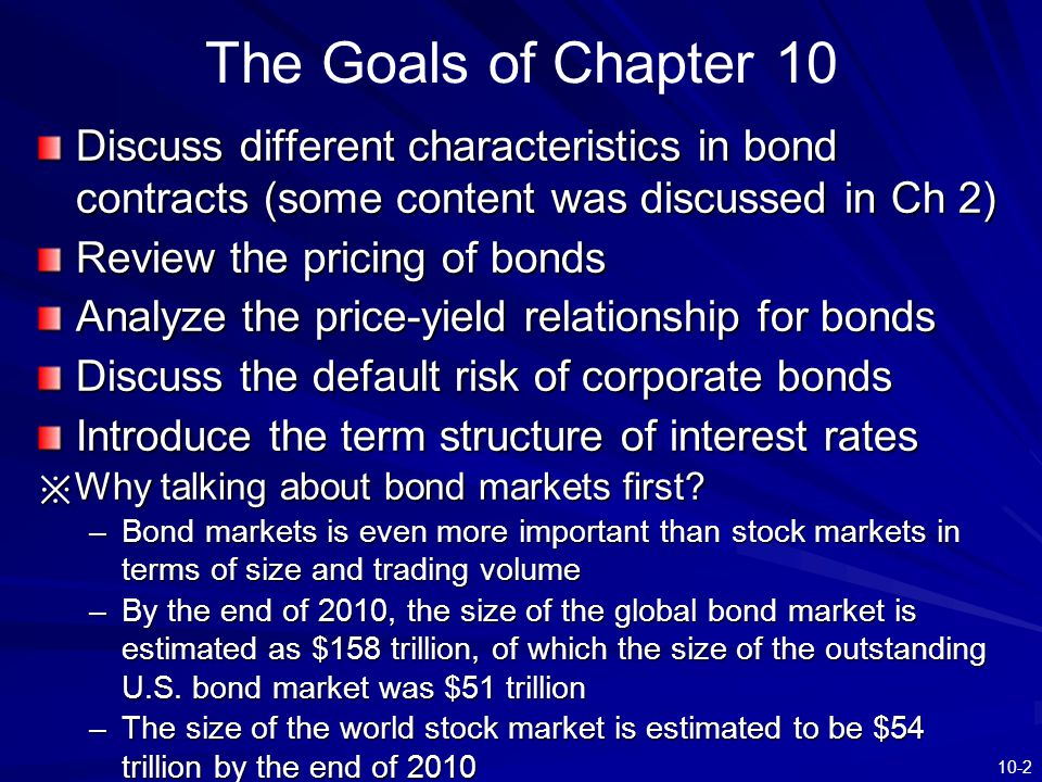 The Goals of Chapter 10 Discuss different characteristics in bond contracts (some content was discussed in Ch 2)