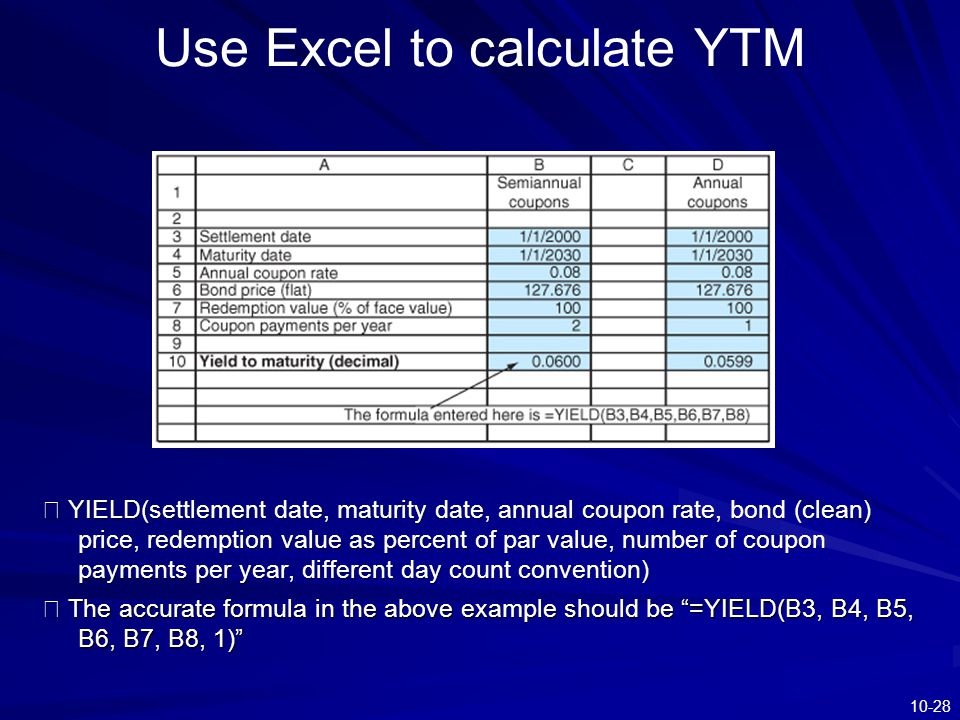 Use Excel to calculate YTM