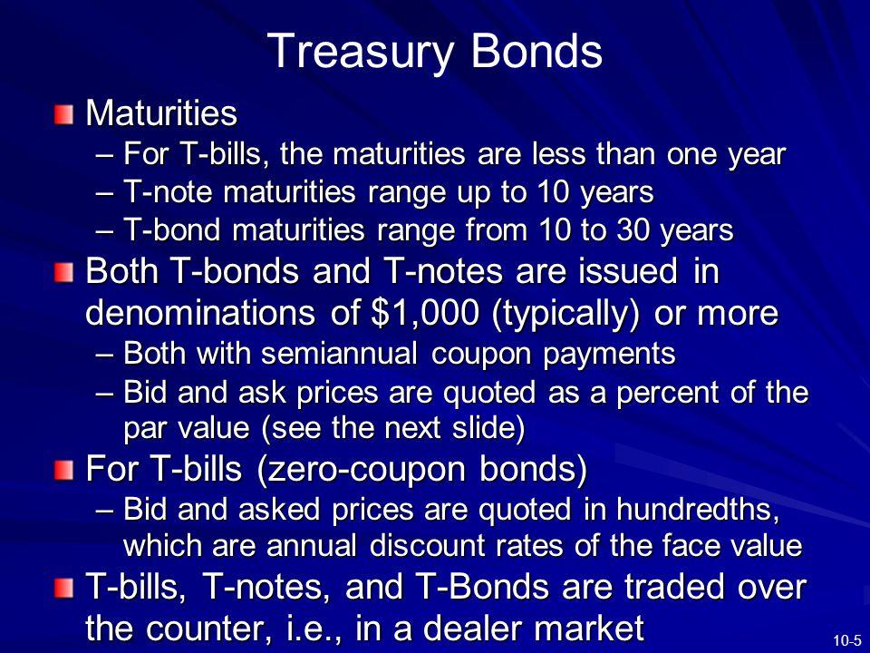 Treasury Bonds Maturities