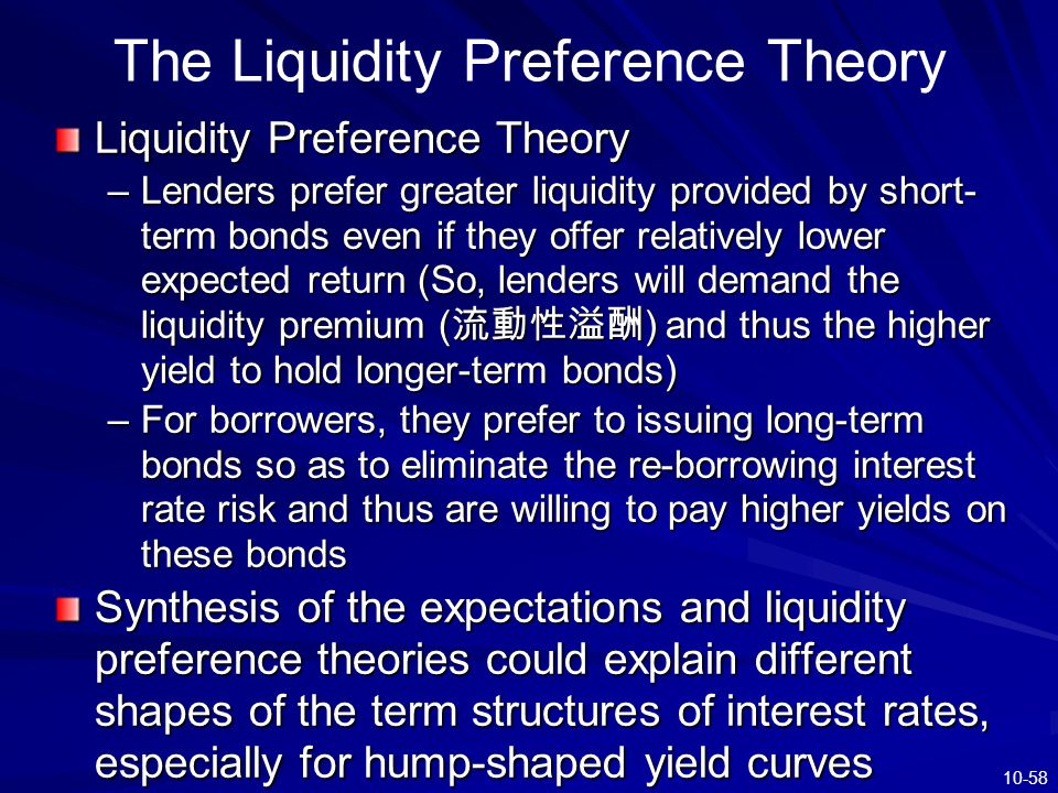 liquidity preference theory View 2 the theory of liquidity preference and the downward-slopingaggregate demand curve from cs 101 at middlesex cc 7/7/2017 mindtap - cengage learning the following graph shows the money.