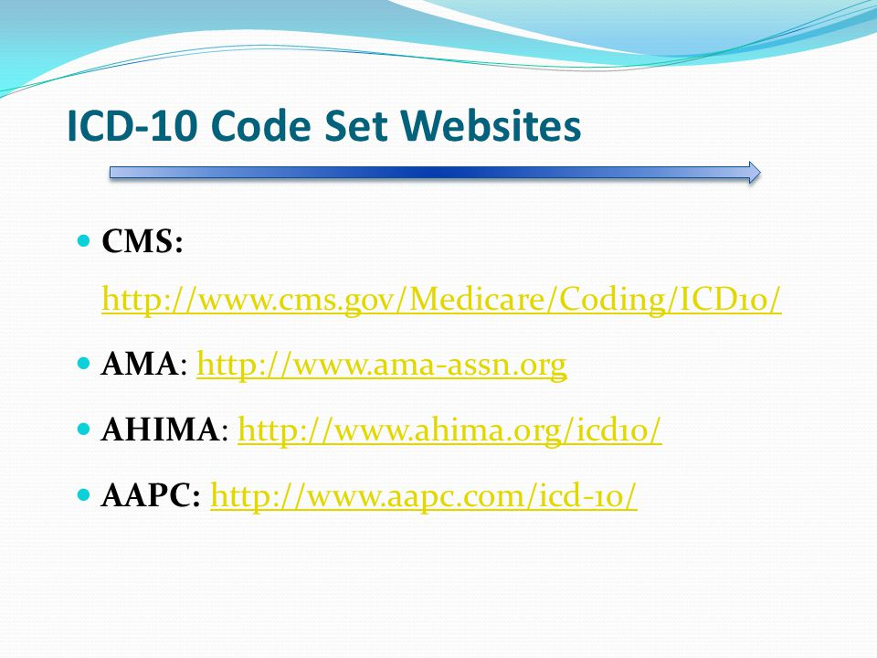 ICD-10 Code Set Websites CMS: http://www.cms.gov/Medicare/Coding/ICD10/ AMA: http://www.ama-assn.org.