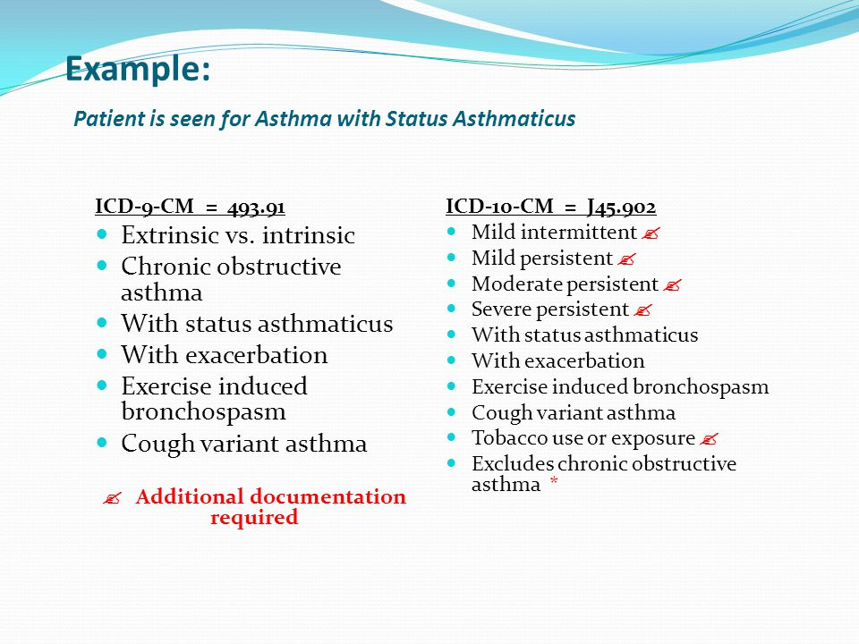 Example: Patient is seen for Asthma with Status Asthmaticus