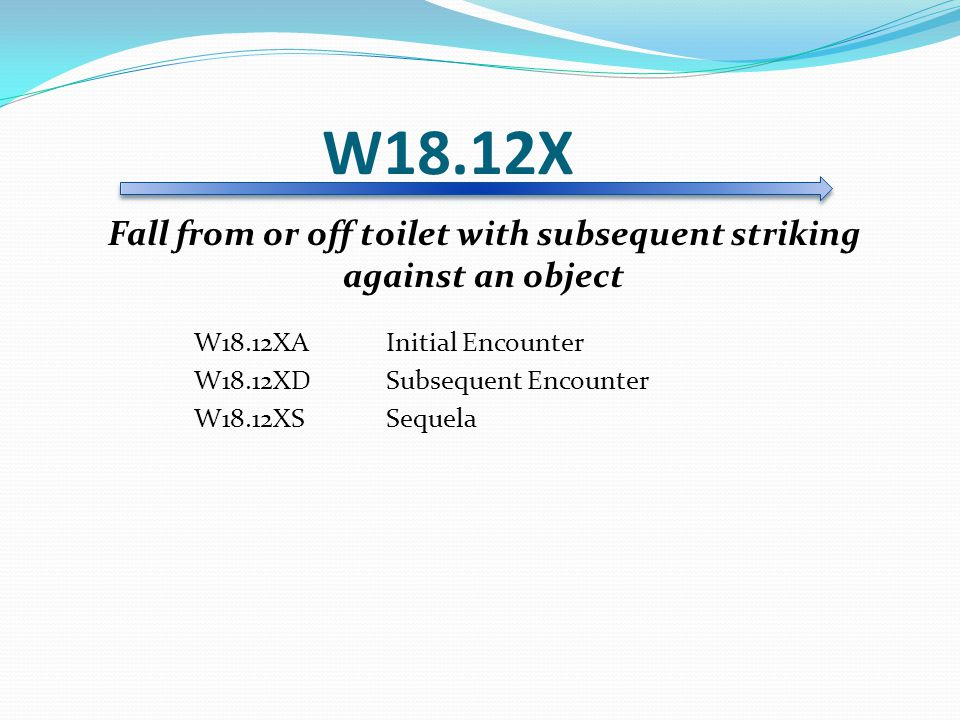 Fall from or off toilet with subsequent striking against an object