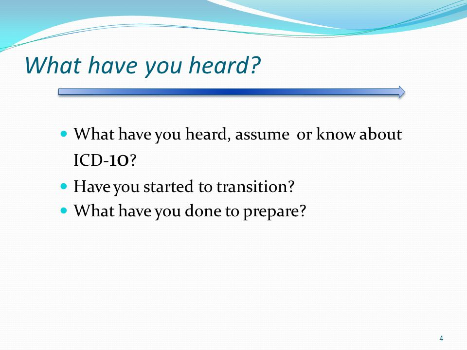 What have you heard What have you heard, assume or know about ICD-10