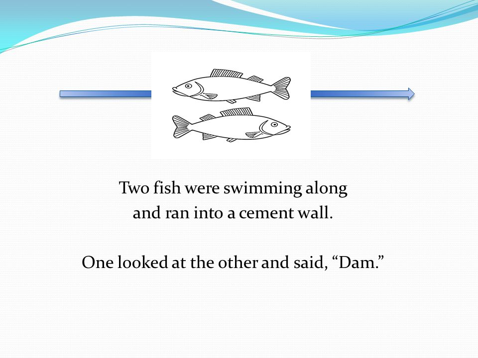 Two fish were swimming along and ran into a cement wall