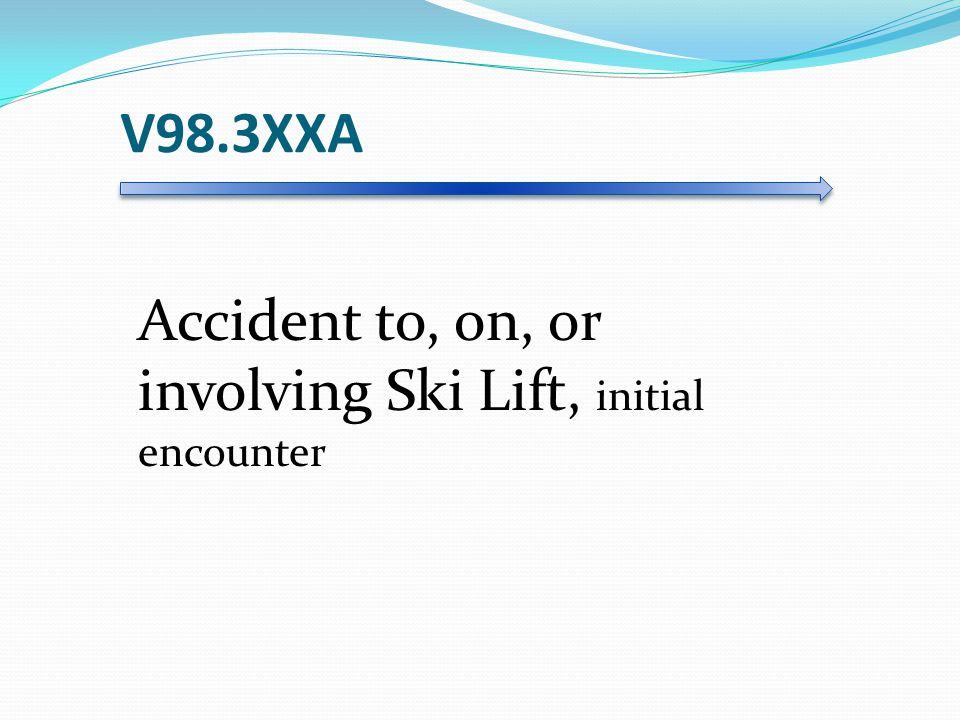 V98.3XXA Accident to, on, or involving Ski Lift, initial encounter
