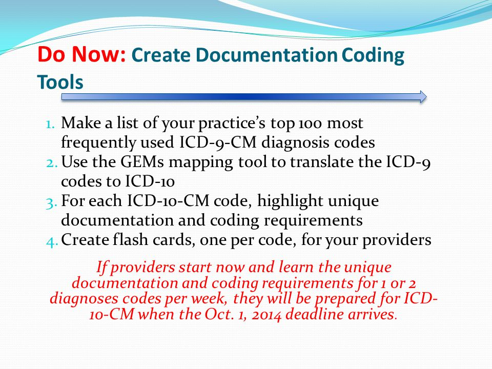 Do Now: Create Documentation Coding Tools