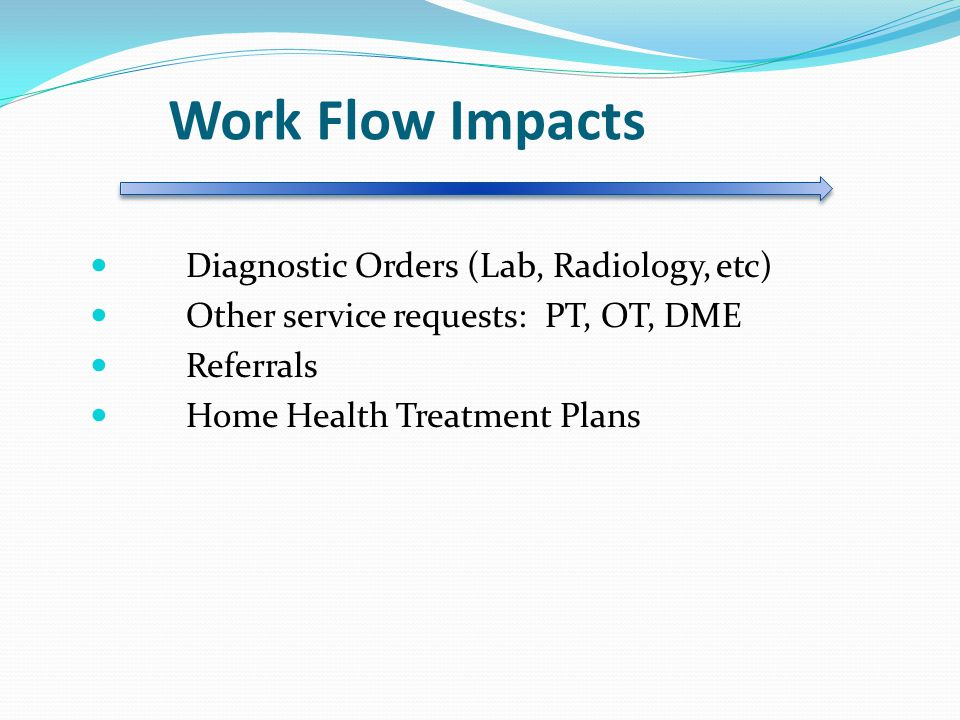 Work Flow Impacts Diagnostic Orders (Lab, Radiology, etc)