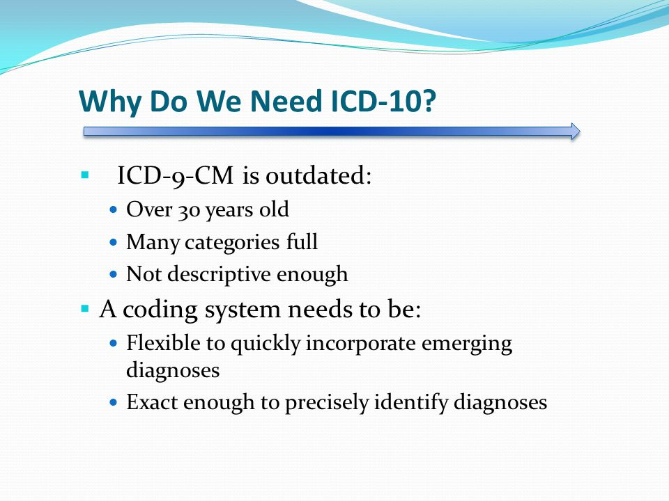 Why Do We Need ICD-10 ICD-9-CM is outdated: