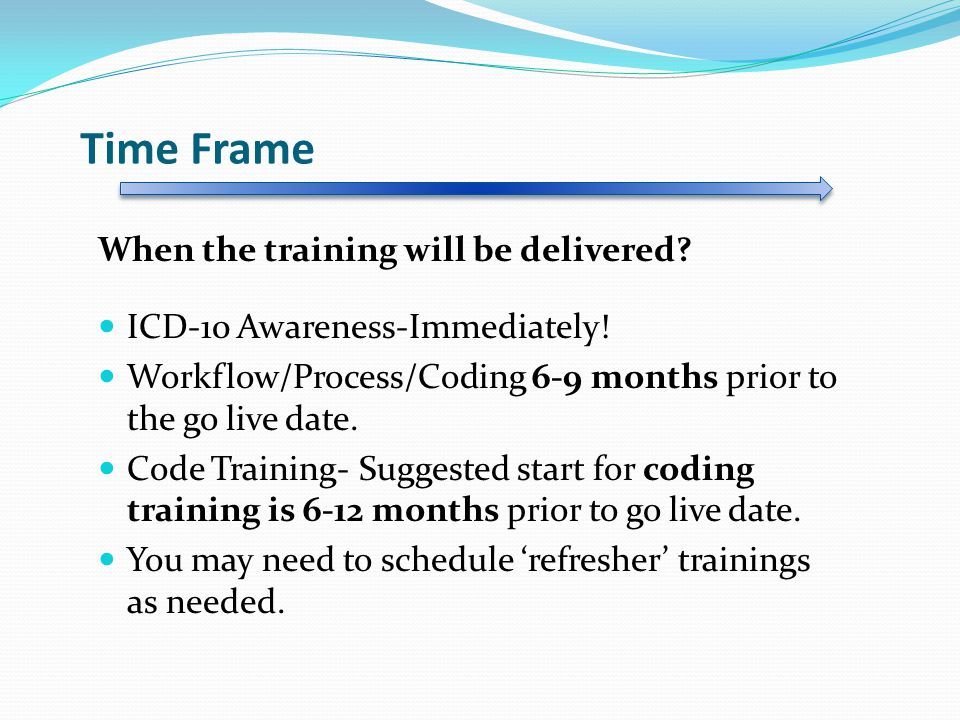Time Frame When the training will be delivered