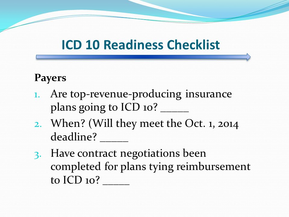 ICD 10 Readiness Checklist