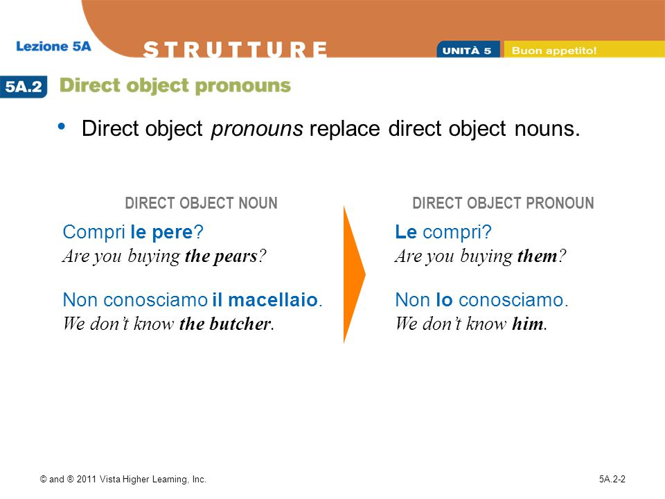 Direct object pronouns replace direct object nouns.