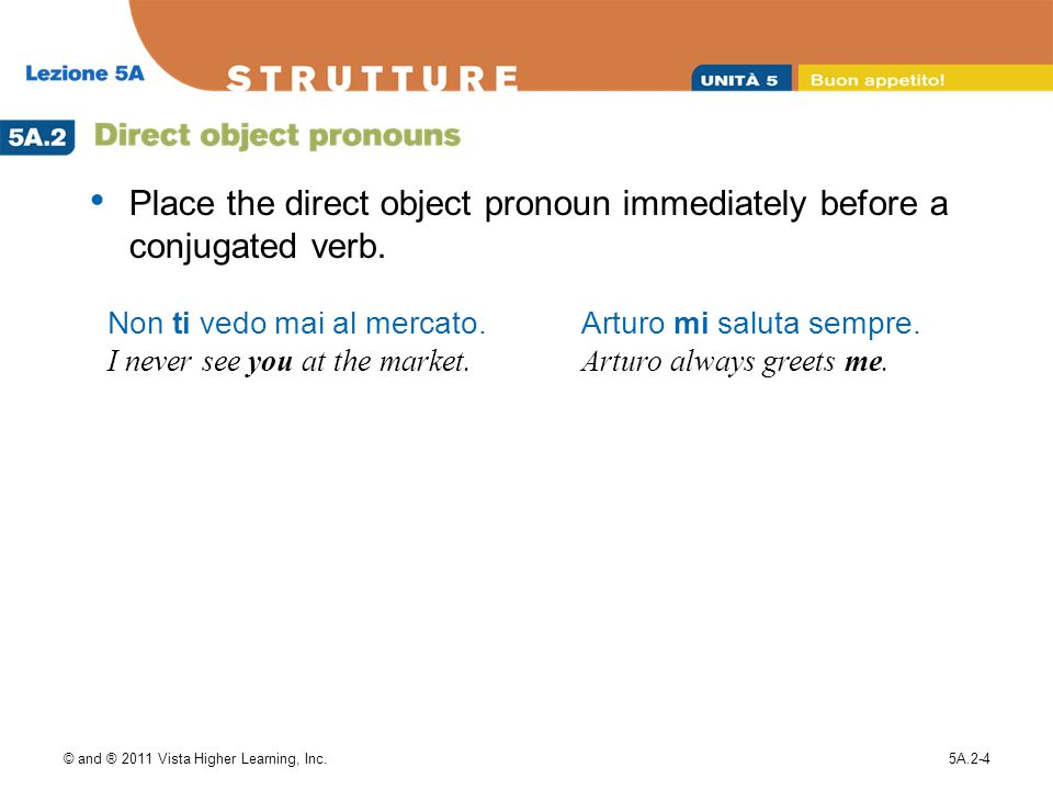 Place the direct object pronoun immediately before a conjugated verb.