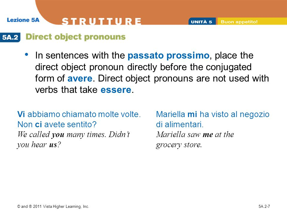 In sentences with the passato prossimo, place the direct object pronoun directly before the conjugated form of avere. Direct object pronouns are not used with verbs that take essere.
